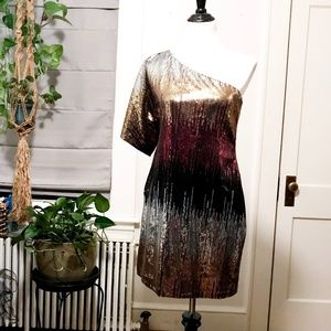 Sequin off shoulder cocktail dress.  Super sexy!
